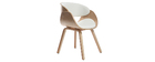 Chaise design blanc et bois clair BENT