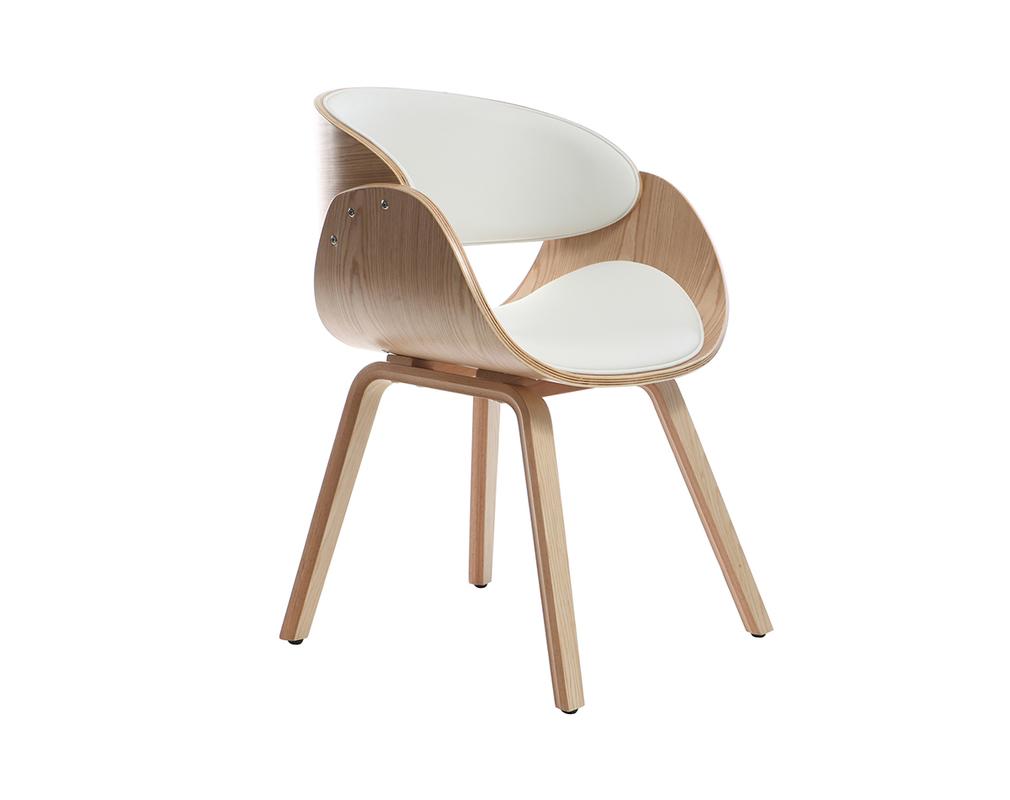 Chaise design blanc et bois clair BENT Miliboo