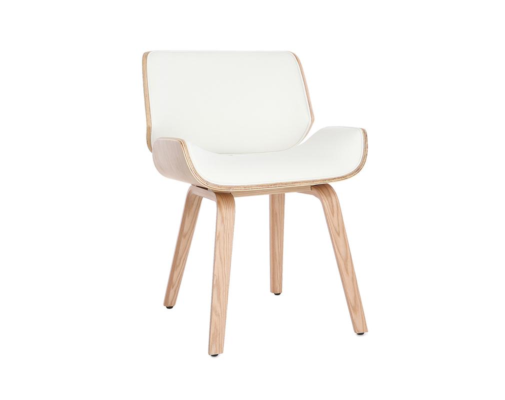 Chaise design blanc et bois clair RUBBENS - Miliboo
