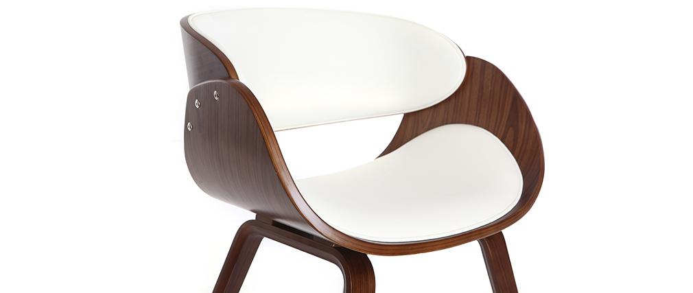 Chaise design blanc et bois foncé noyer BENT