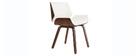 Chaise design blanc et bois foncé noyer RUBBENS
