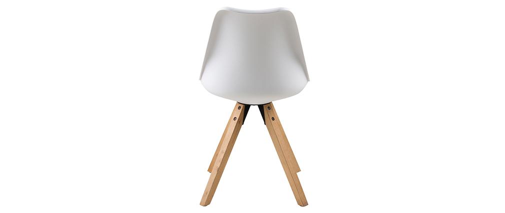 Chaise design blanc et pieds bois clair lot de 2 nadja for Chaise bois et blanc