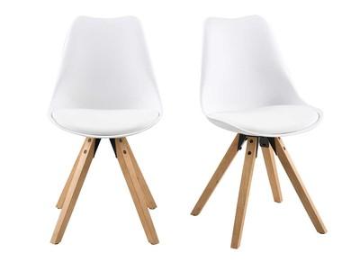 Chaise design blanc et pieds bois clair lot de 2 NADJA