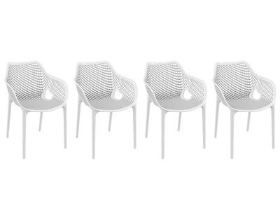 Chaise design blanc lot de 4 LUCY XL