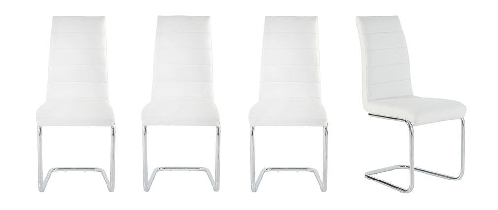 Chaise design blanche lot de 4 LAURA