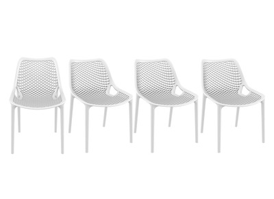 Chaise design blanche lot de 4 LUCY