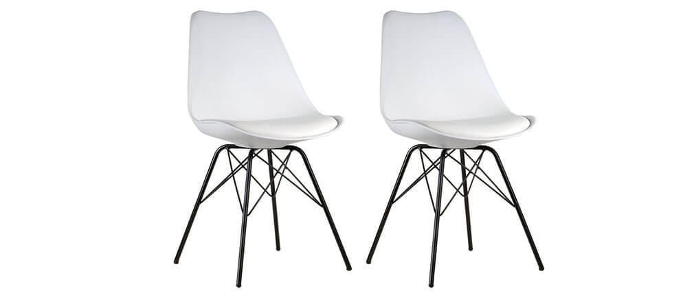Chaise design blanche pieds en toile lot de 2 steevy v2 for Chaise 2 pieds