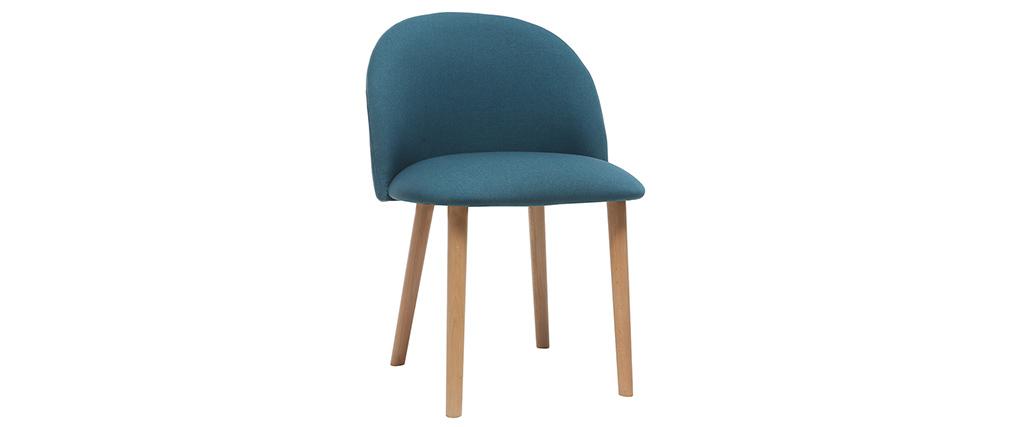 Chaise design bleu canard et bois CELESTE