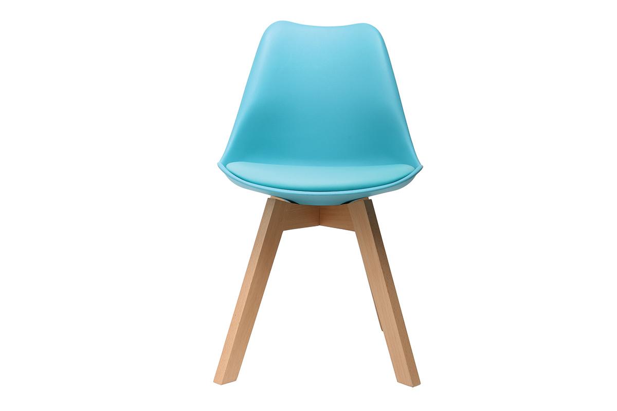 Chaise design bleu et pieds bois lot de 2 pauline miliboo for Chaise 2 pieds