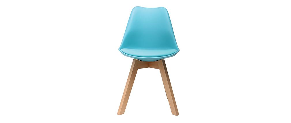 Chaise design bleu et pieds bois lot de 2 pauline miliboo for Chaise 3 pieds