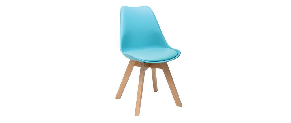Chaise design bleu et pieds bois lot de 4 pauline miliboo - Chaise design pied bois ...