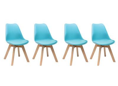 Chaise design bleu et pieds bois lot de 4 PAULINE