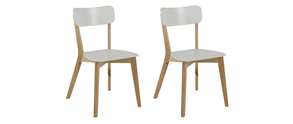 Chaise design bois et laqué blanc mat (lot de 2) LAENA