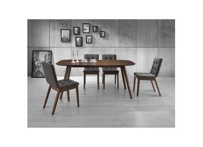 Chaise design bois et tissu gris lot de 2 WILTON