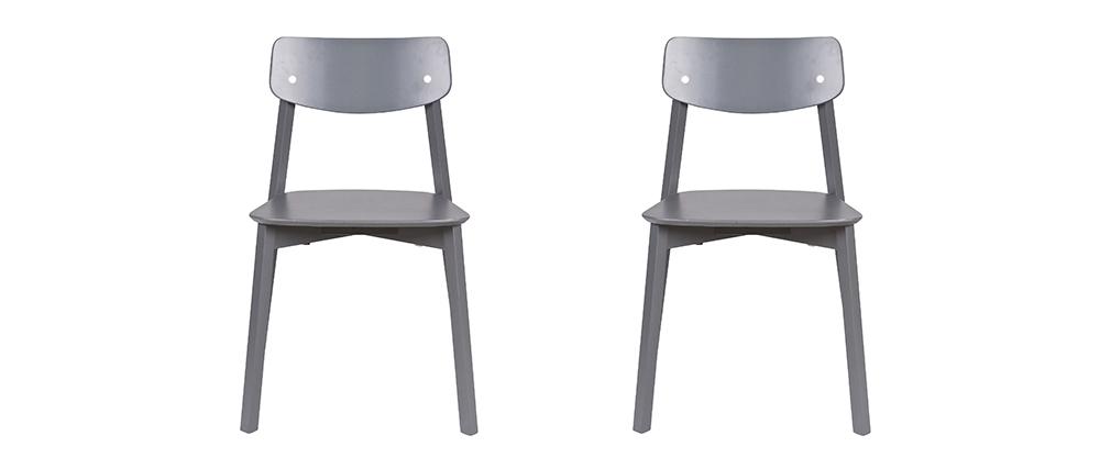 chaise design bois gris anthracite lot de 2 jess miliboo. Black Bedroom Furniture Sets. Home Design Ideas