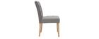 Chaise design capitonnée tissu gris (lot de 2) ESTER