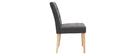 Chaise design capitonnée tissu gris foncé pieds bois (lot de 2) ESTER
