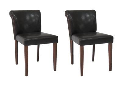 Chaise design chocolat lot de 2 ELYNA