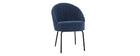 Chaise design effet velours bleu et métal noir IZAAC - Miliboo & Stéphane Plaza