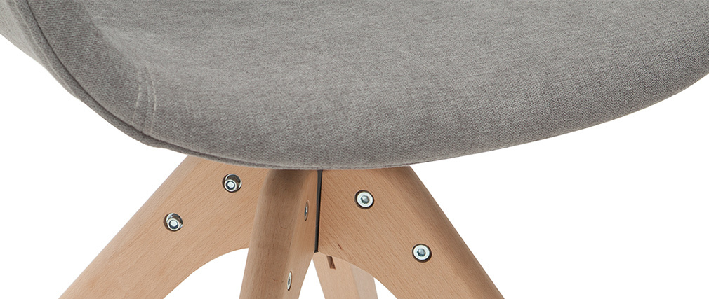 Chaise design effet velours gris et bois AARON