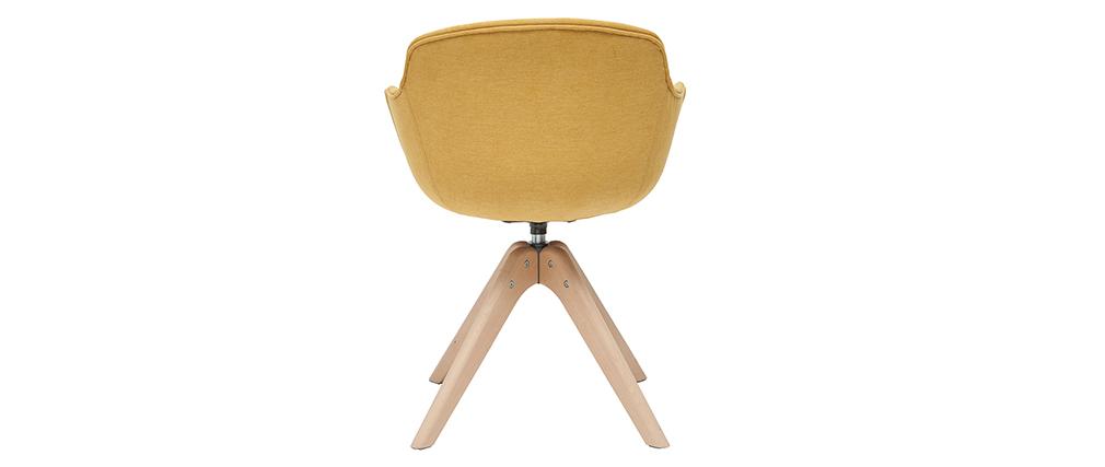 Chaise design effet velours moutarde et bois AARON