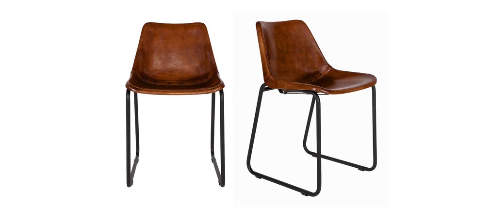 Chaise design en cuir et m tal marron lot de 2 rok miliboo - Chaise metal et cuir ...