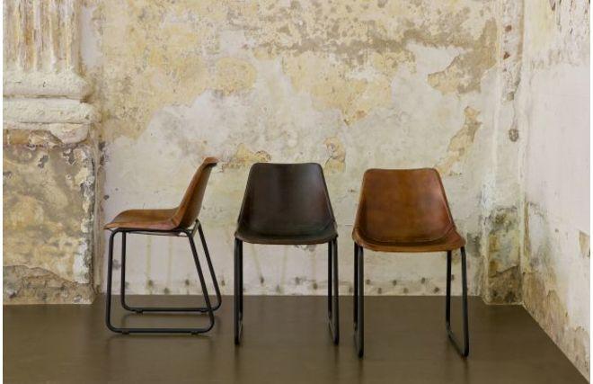 Chaise design en cuir et m tal marron rok miliboo - Chaises en cuir design ...