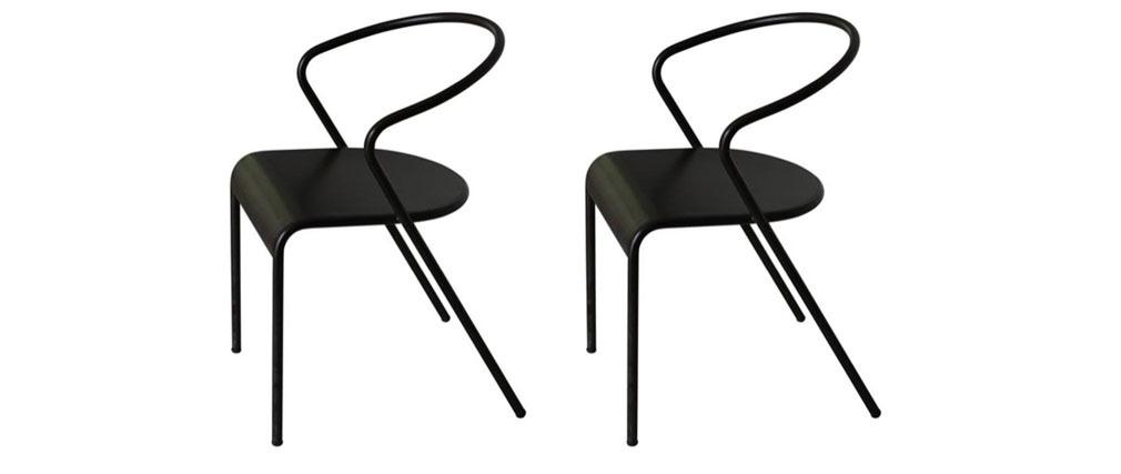Chaise design en métal noir lot de 2 LIFT