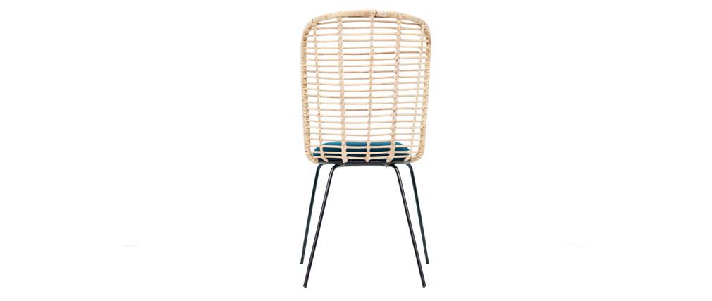 Chaise design en rotin et tissu bleu pétrole NICOLAS