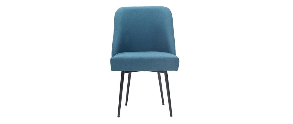 Chaise design en tissu bleu canard et pieds métal noir LOV