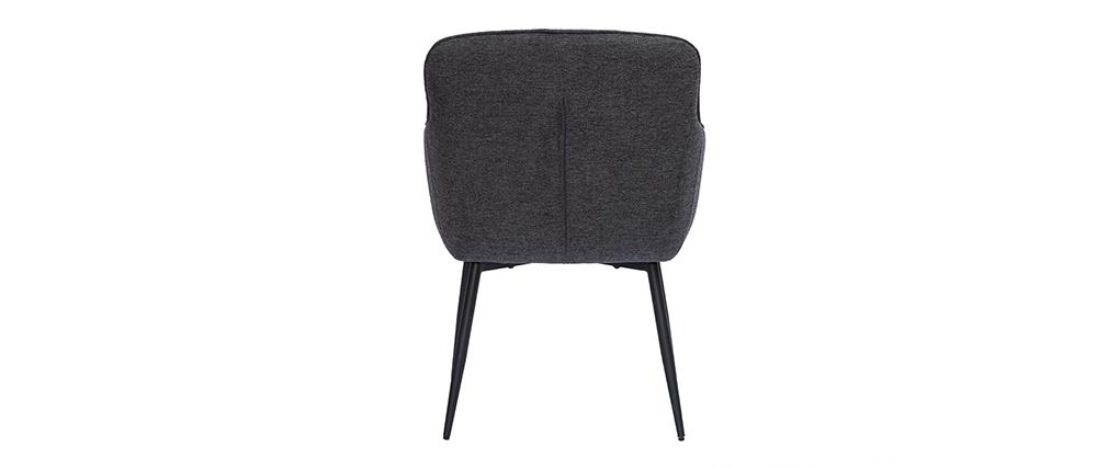 Chaise design en tissu effet velours texturé gris foncé FRIDA