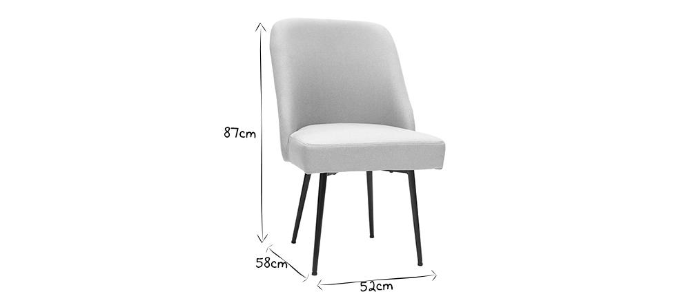 Chaise design en tissu gris clair et pieds métal noir LOV