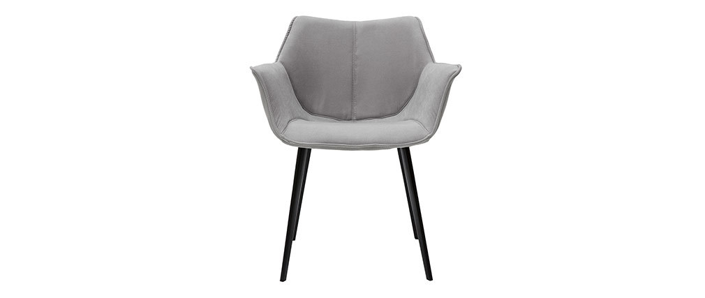 Chaise design en tissu gris clair et pieds métal noir VOLO