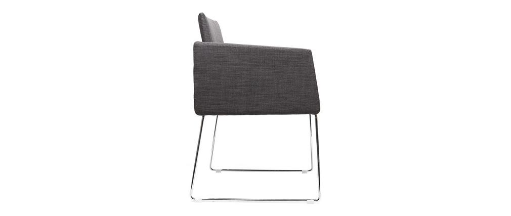 Chaise design en tissu gris et acier chromé NEORA