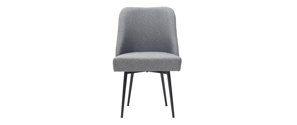 Chaise design en tissu gris foncé et pieds métal noir LOV