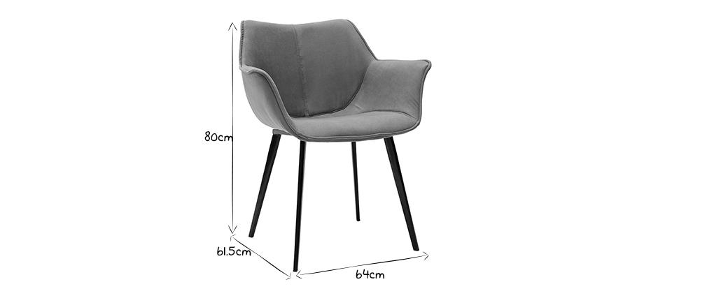 Chaise design en tissu gris foncé et pieds métal noir VOLO