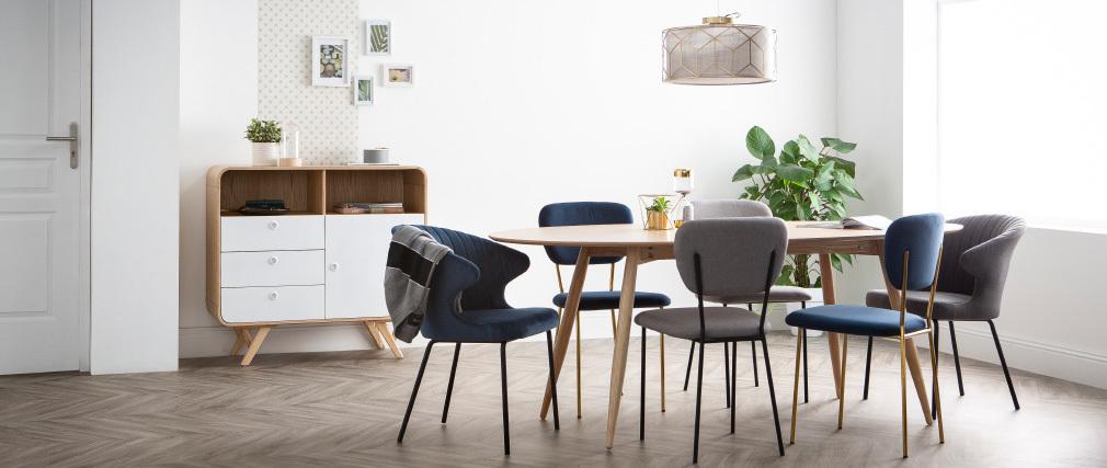Chaise design en tissu gris foncé REQUIEM
