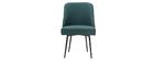 Chaise design en tissu vert foncé et pieds métal noir LOV