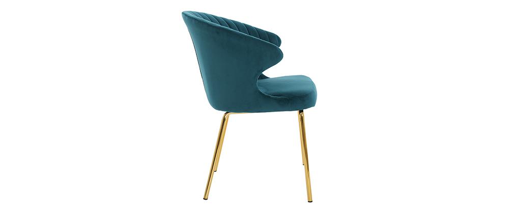 Chaise design en velours bleu pétrole et métal doré REQUIEM - Miliboo & Stéphane Plaza
