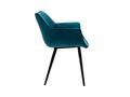 Chaise design en velours bleu pétrole et pieds métal noir VOLO