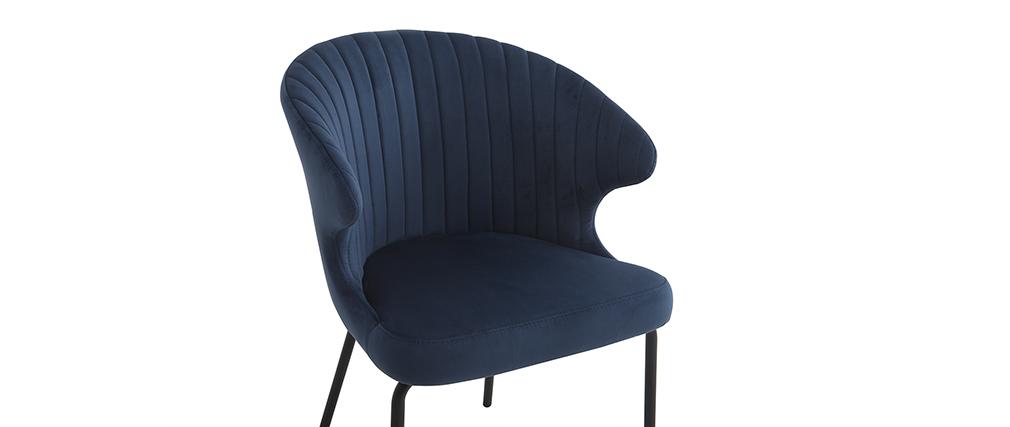 Chaise Velours Miliboo En Requiem Design Bleu lcTKF13J