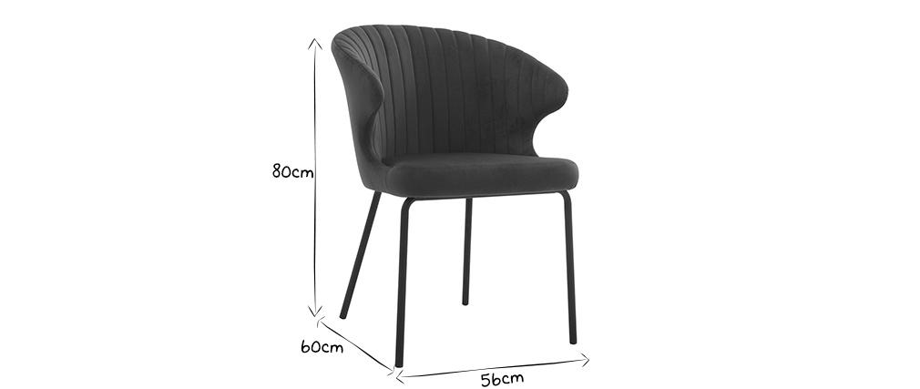 Chaise design en velours bleu REQUIEM