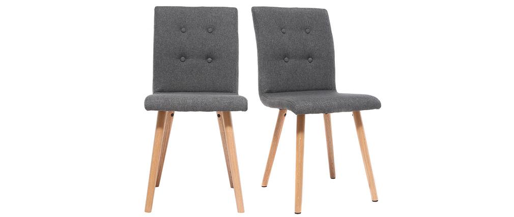 Chaise design gris foncé et bois (lot de 2) HORTA