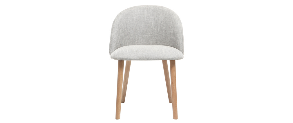 Chaise design gris polaire et bois CELESTE