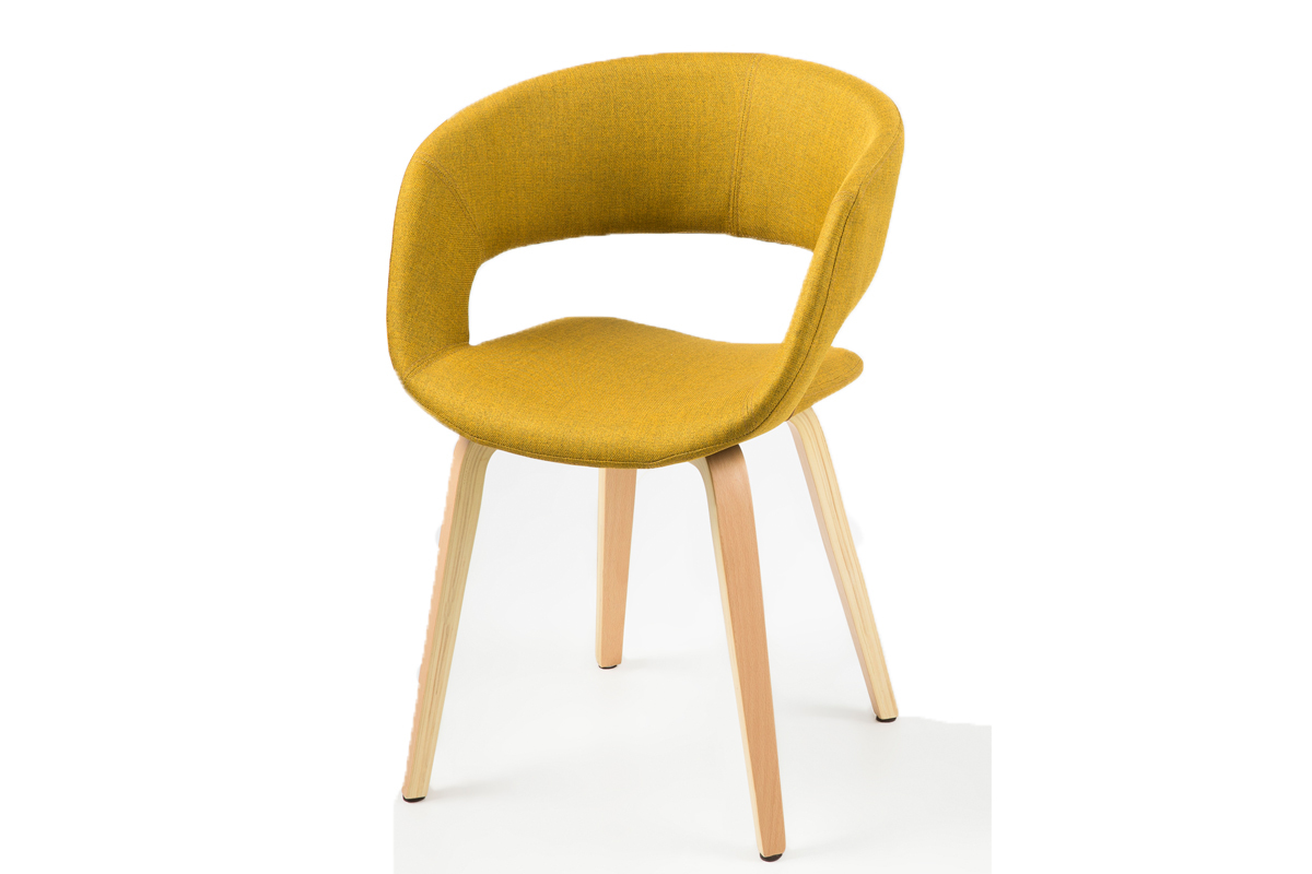 Chaise design jaune curry pieds bois sab miliboo - Chaise en bois design ...