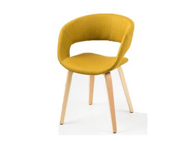 Chaise design jaune curry pieds bois SAB