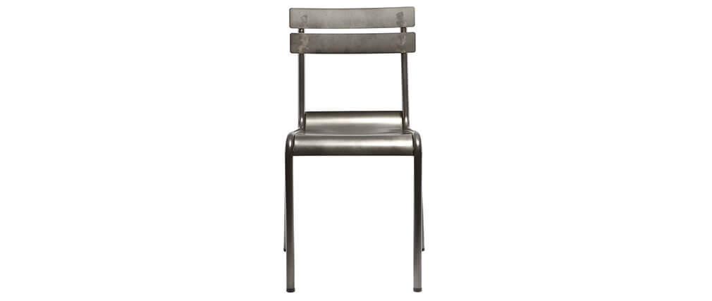 Chaise design métal inox (lot de 2) SHERMAN