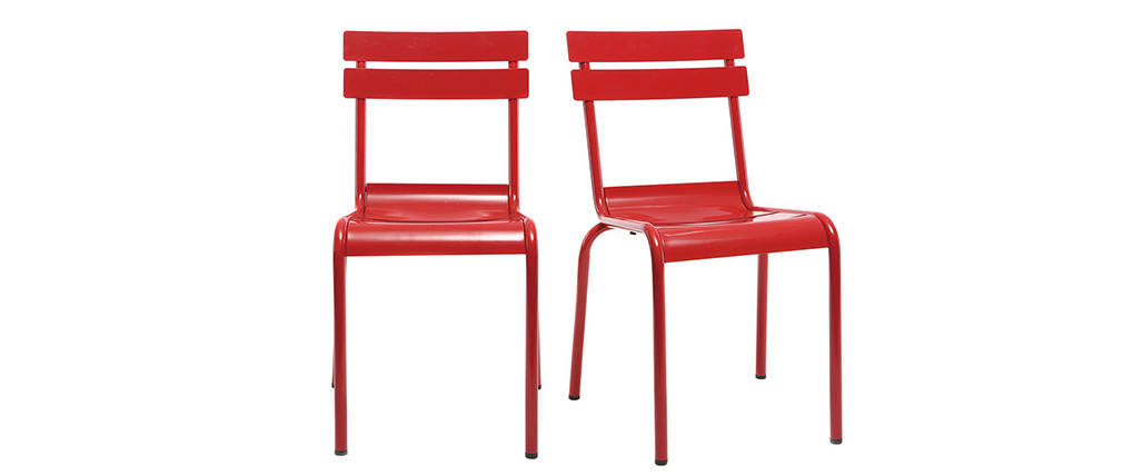 Chaise design métal rouge (lot de 2) SHERMAN