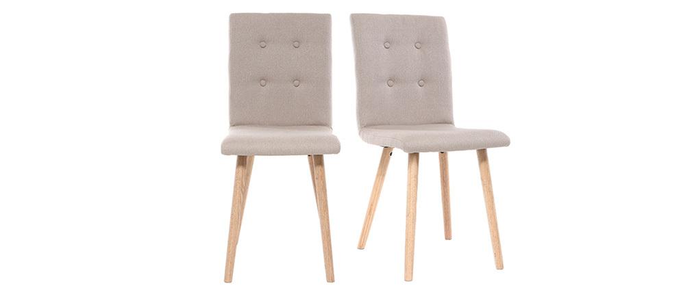 Chaise design naturelle et bois (lot de 2) HORTA