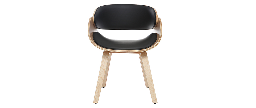Chaise design noir et bois clair BENT